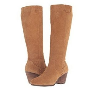 Aerosoles Heelrest Camel Suede Leather Boots
